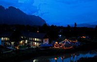 Night falls over Vang Vieng