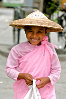 Young girl monk in Pink