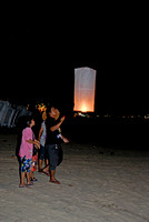Launching a Latern on Patong Beach during Loy Krathong