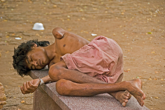One of the homeless at Wat Phnom