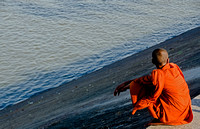 Monk on the banks of the Tonle Sap