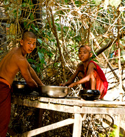 Young monks washing