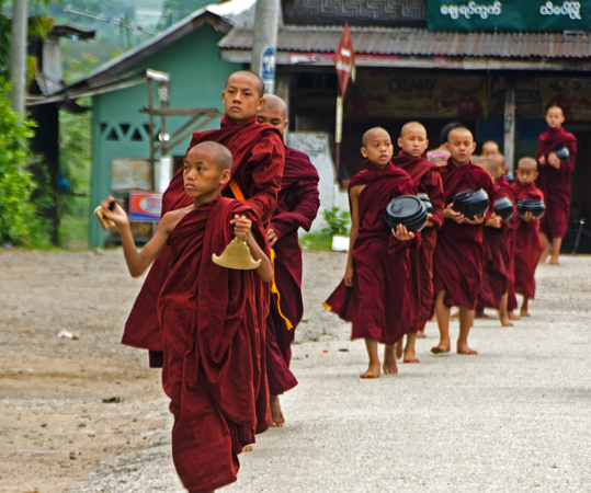 Monks out collecting Alms